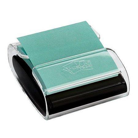Porta Post-it® para Blocos de Notas Adesivas + 1 Bloco Refil, Transparente e Preto, 76mm x 76mm