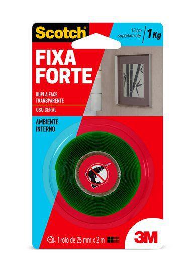 Fita Dupla Face 3M™ Scotch® Fixa Forte, Transparente, 24mm x 2m