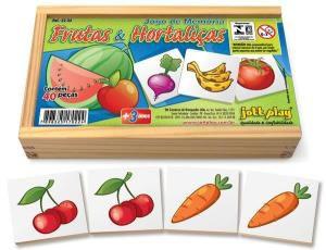 Jogo da Memoria de Frutas e Hortalicas (40 pecas) - Jott Play