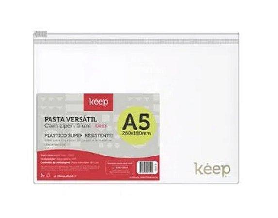 Pasta Zíper Versátil Cristal A5 260x180mm 5 unidades Keep - EI053