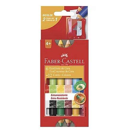 Giz de Cera 12 cores (6 bicolor) Faber Castell