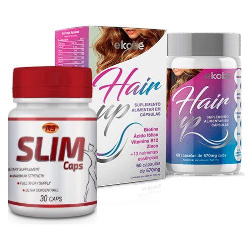 Slim Caps 30 Caps + Hair UP 60 Cáps - Combo