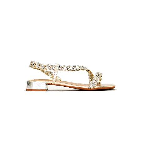 Sandália com Tiras em Trança Metalizada