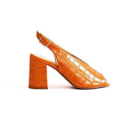 Peep Toe Blocado em Croco