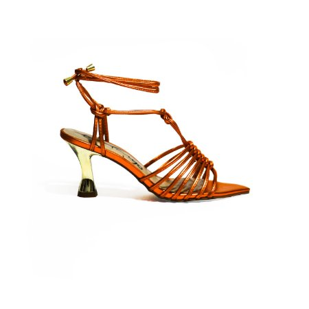 Sandália Metalizada com Salto Ampulheta e Amarração