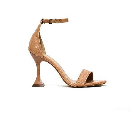 Sandália em Croco Nude e Salto Taça