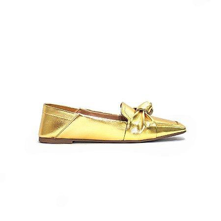 Sapatilha Loafer Metalizada Ouro