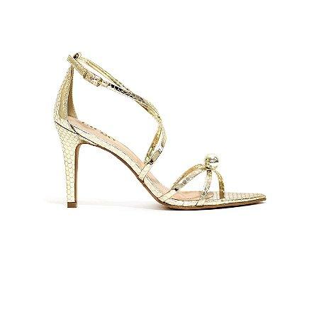 Sandália Metalizada com Pérola Dourada