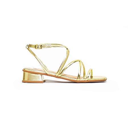 Sandália Fargo Metalizada de Tiras Ouro