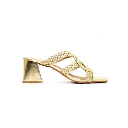Sandália de Salto Trapézio e Tiras Trançadas Ouro