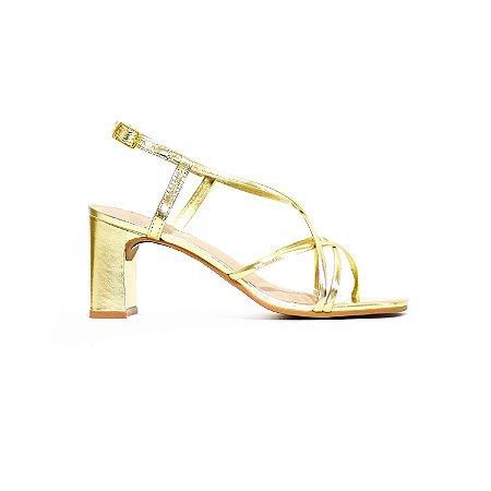 Sandália Fargo de Tiras Metalizadas Ouro