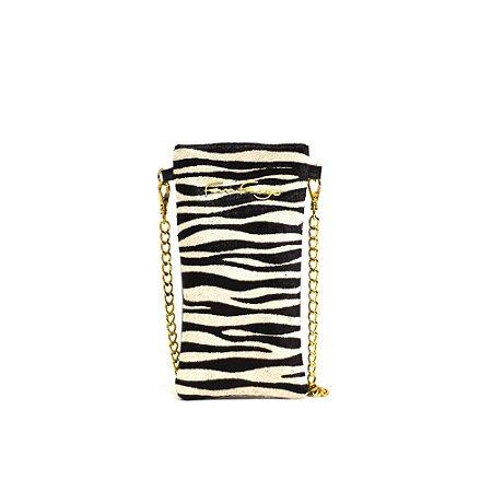 Porta Celular em Couro Estampado de Zebra