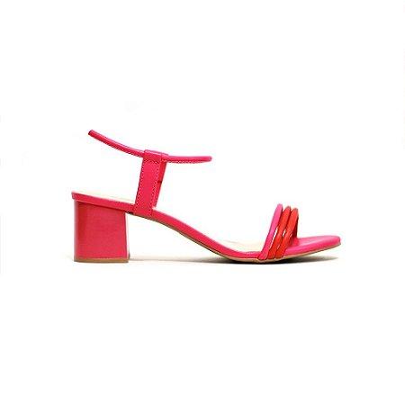 Sandália Fargo Tiras Duocolors e Salto Bloco Pink