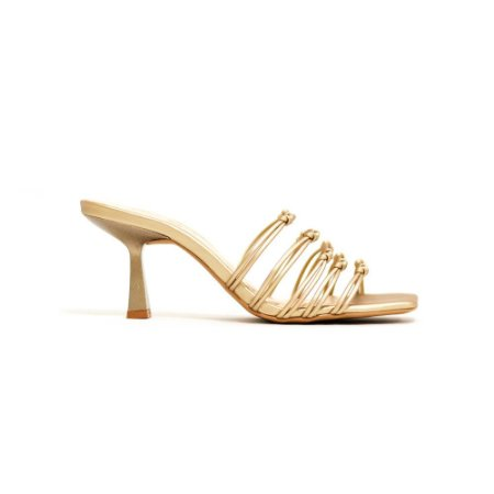 Sandália Fargo Ouro Perolada de Salto Esculpido