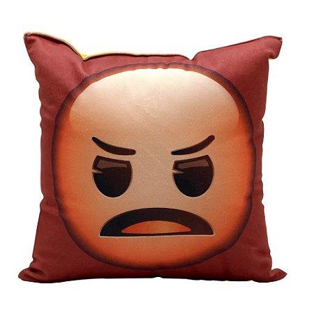 Almofada Fibra Veludo 25x25 Emoji Bravo e Tomando Sol
