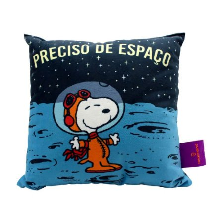 Almofada Fibra Veludo 25x25 Snoopy Space