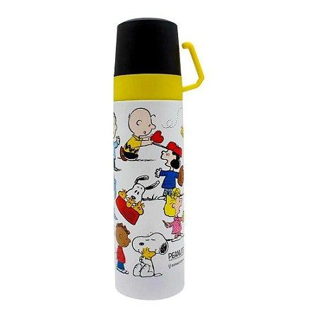 Garrafa Térmica c/ 2 Tampas e Xícara Snoopy 500ml