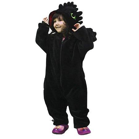 Macacão Kigurumi Infantil Dragão Preto