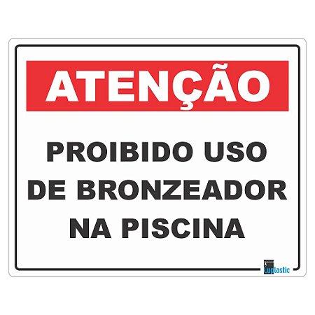 Placa Proibido Bronzeador na Piscina 20x25 cm