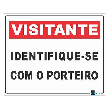 Placa Visitante Identifique-se com o Porteiro 20x25 cm