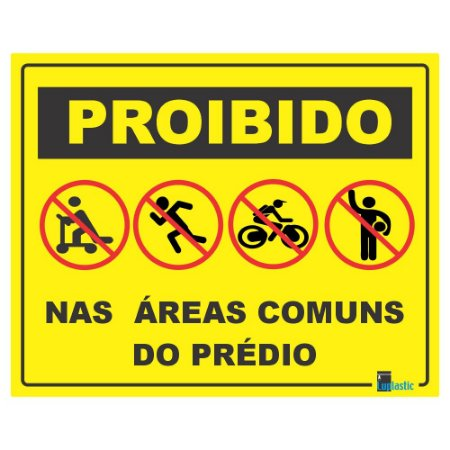Placa: Atividades proibidas no condominio 20x25 cm