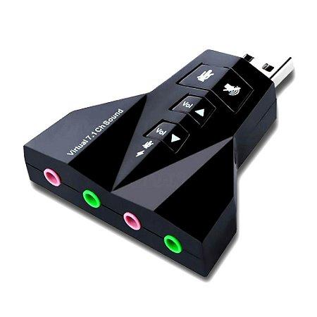 Adaptador de Som USB Virtual 7.1 Channel