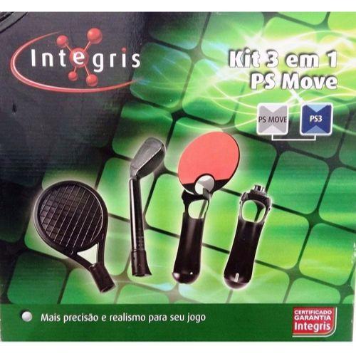 Kit Esportes 3 Em 1 Ps Move Ps3 Integris Golf Ping-Pong Tenis
