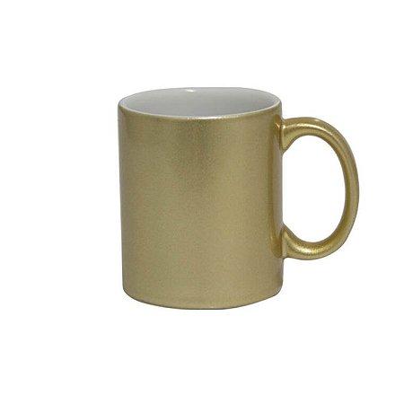Caneca de Cerâmica Lisa com Glitter Para Sublimação - Dourada - Sublime