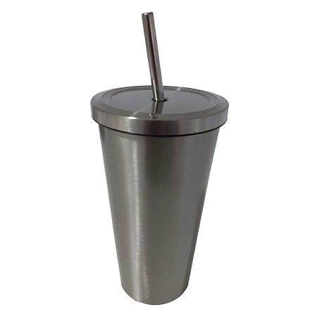 Copo de Inox com Canudo - Modelo Starbucks - Prata