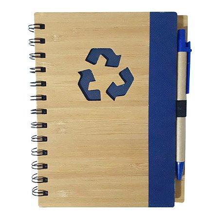 Agenda Ecológica com Caneta Para Transfer Laser - Modelo Recicle - Azul