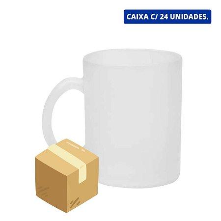 Caneca de Vidro Jateada Para Sublimação - 320ml - Sublime - Caixa c/ 24 Unidades.