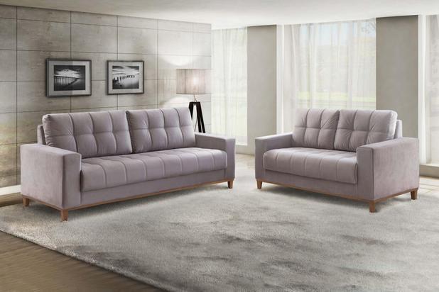 Conjunto sofá 2 e 3 lugares Rondomóveis 810 Camurça Uberaba