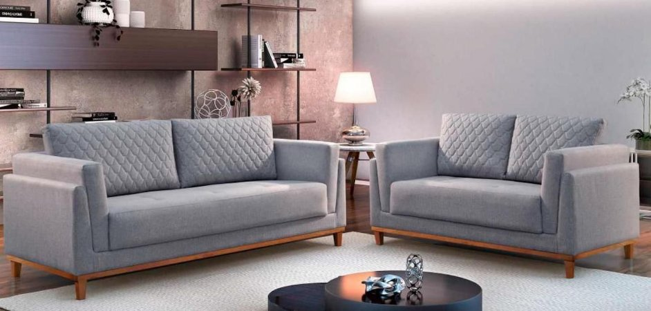 Conjunto sofá 2 e 3 lugares Rondomóveis 035 Veludo Joinvile