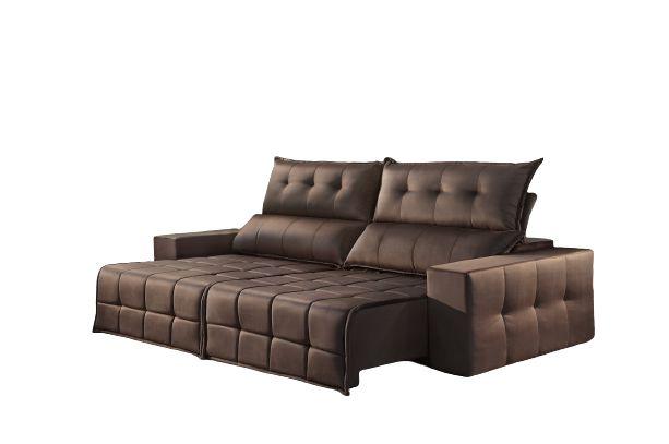 Sofá Retrátil e Reclinável 2,50 cm CB SSC Marrom