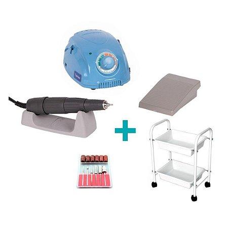 KIT Micromotor Marathon Azul com Carrinho Auxiliar Branco - TALMAX