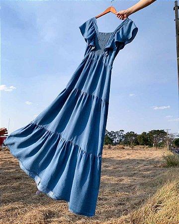 vestido longo lila