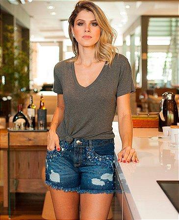short jeans bordado bolso villon
