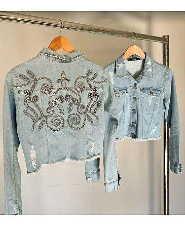 jaqueta cropped bordada lela villon jeans