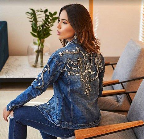 jaqueta bordada pedras kaka villon jeans