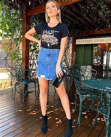 mini saia com cinto jeans flor villon