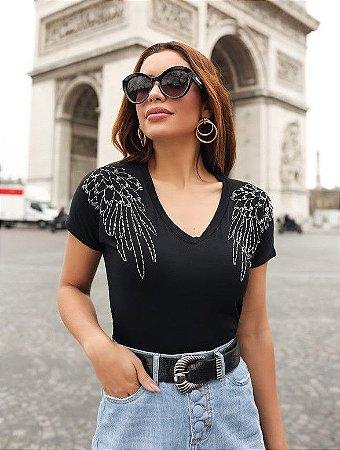 T-shirt malha bordado pedras maria jose villon jeans