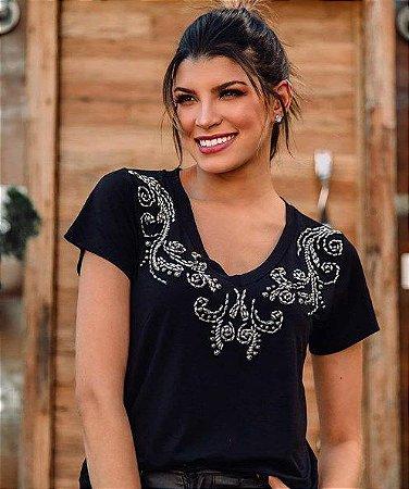 T-shirt bordada pedraria arabesco misseli