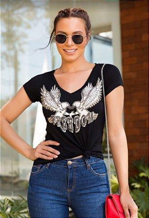 T-shirt aguia silk e bordado em pedras