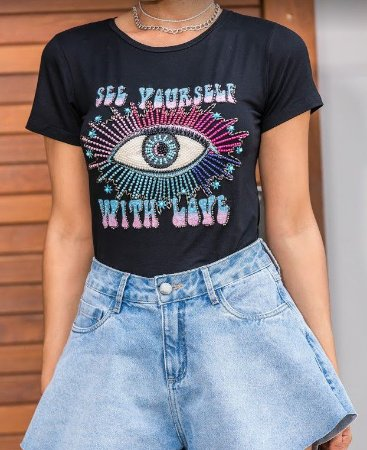 T-shirt  com silk e bordado manual em pedras olho psicodelico