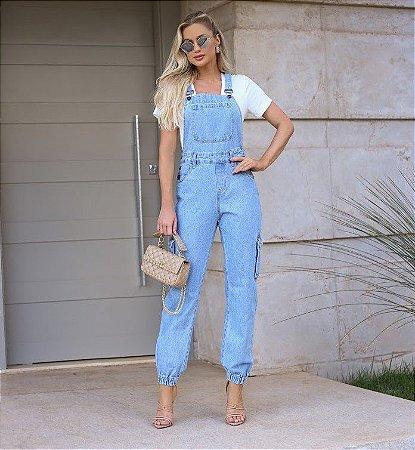 Macacão jeans zelia bolso lateral