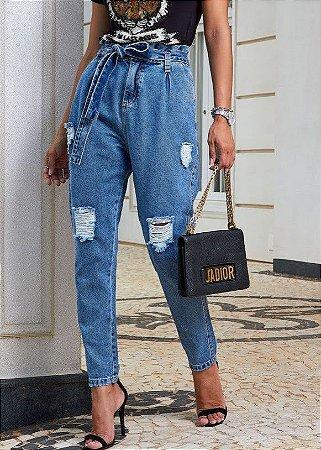 Calça Mom Sol com faixa jeans