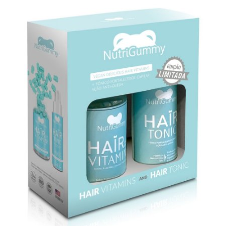 KIT 1 Mês de Tratamento - Nutrigummy Hair Vitamins 60 Gomas + Tônico Anti-queda