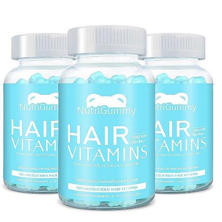 Vitaminas 3 meses de Tratamento - Nutrigummy Hair Vitamins 180 Gomas