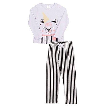Conjunto pijama menina calça e manga longa sorvete