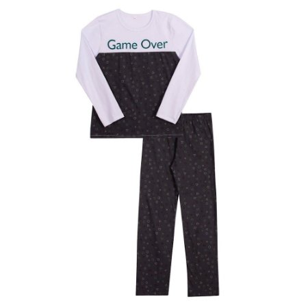 Conjunto pijama calça e manga longa Game over